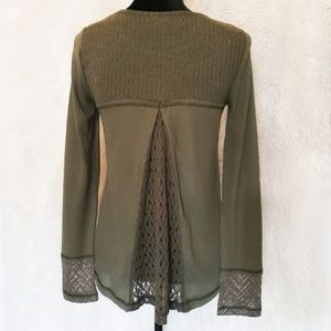 Miss Me Tops - Miss Me Olive Green Lace Inset Waffle Knit Top